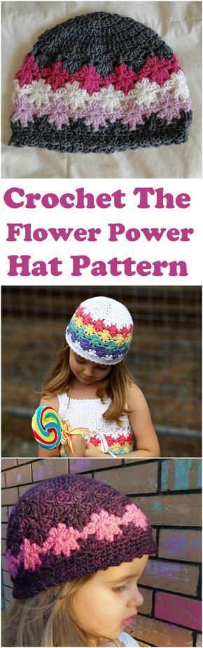 Chapéu de flores de crochê