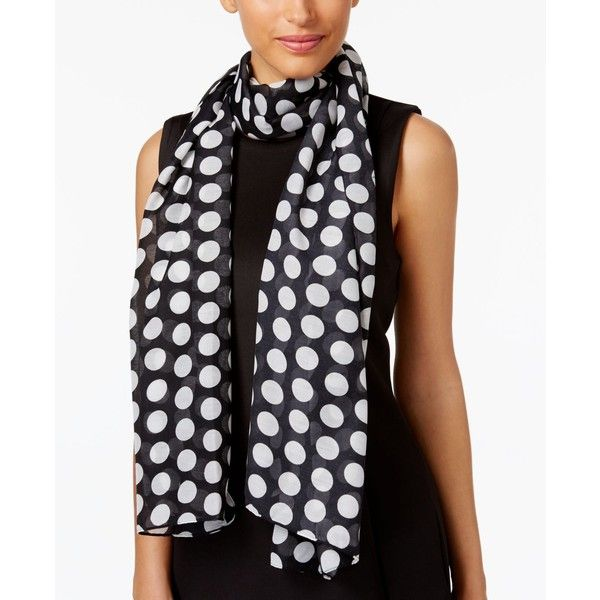 Echo Let's Polka Oblong Scarf ($29) ❤ liked on Polyvore featuring accessories, scarves, black, echo scarves, long shawl, long scarves, polka dot scarves and oblong scarves