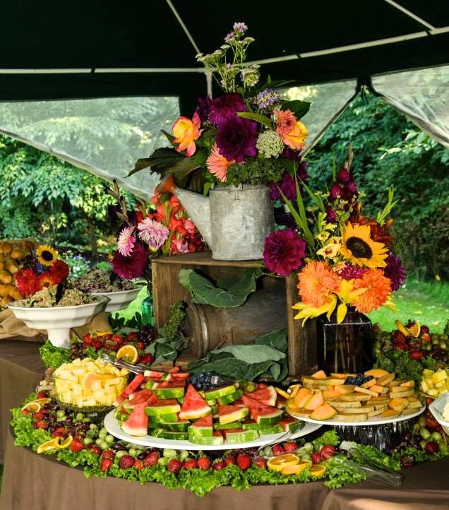 Fraser Valley Wedding Rustic Decorations: Country Wedding Fruit Table Display