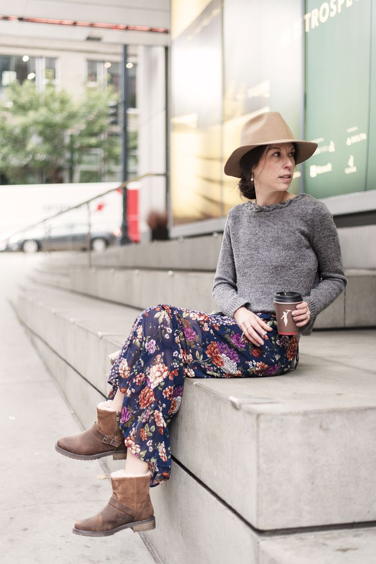 Love this outfit! Winter Florals, Boots, Hat and Sweater! #style #fashion #streetstyle #sweaterweater #boots #emuaustralia #target #targetstyle #sezane #mooreaseal