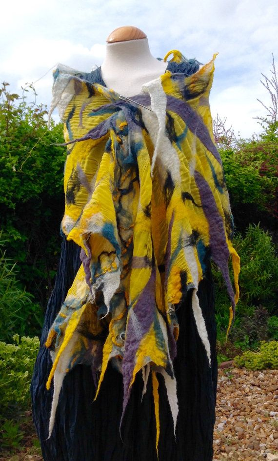 Angela Brewster - Glorious Sunshine yellow reversible nuno felted wool on a base of bright yellow silk georgette