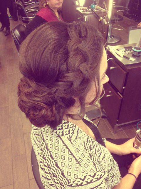 wedding updo - brunette braided bridal hairstyle - sidebun for bride or bridesmaids low side bun with thick braid