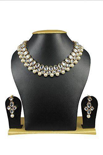 Elegant Bollywood Indian Gold Plated White Pearl Rich Kundan Women Necklace Set Exclusive Jewellery, http://www.amazon.com/dp/B072PQ27JR/ref=cm_sw_r_pi_dp_x_uQVCzb6PAP068