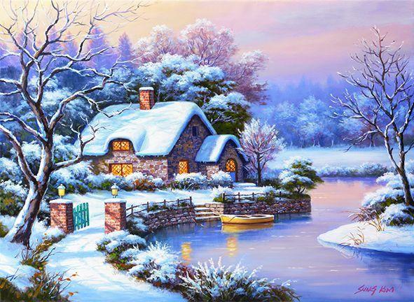 Kışlıkta Akşamüstü, Sung Kim (1000 parça puzzle) - Anatolian - Puzzle - Yapboz - Hobi - Koleksiyon