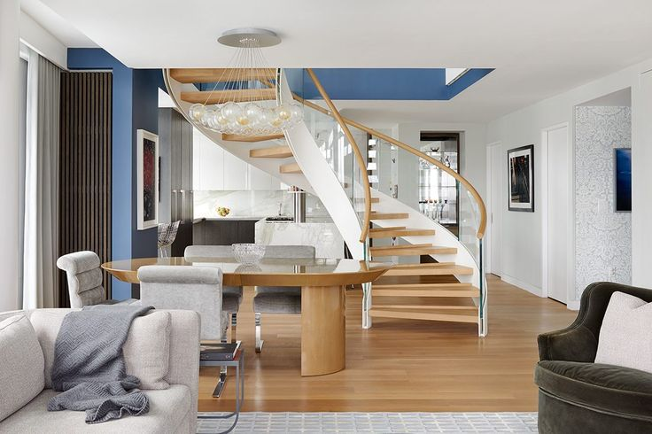 This duplex for a family of four is located in Williamsburg, right on the east bank of the East River, with incredible views over the Manhattan skyline. The scope of the project was to merge a new unit of 1,400 square feet into an existing apartment. This addition, to be used for a family room, playroom and guest bedroom, presented a challenge—it was one floor above on the 21st floor.