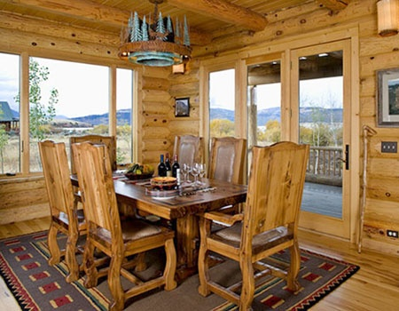 dining room: Dining Rooms, Log Homes, Log Cabins Homes Chalets, House Ideas, Logs, Cabin Dreaming, Cabin Kitchen Dining, Dream Houses, Photo