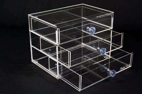3 Drawer Makeup Organizer  Heart 7W  Clear Acrylic Makeup