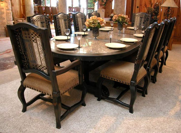 Delightful Custom Dining Table And Chairs   Hand Crafted Designs From Scottsdale Art  Factory. Solid Wood Table With Granite Inlay, Oval Dining Table Seats  Custom ... Images