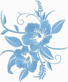 Free Blue flowers machine embroidery design. Machine embroidery design. www.embroideres.com