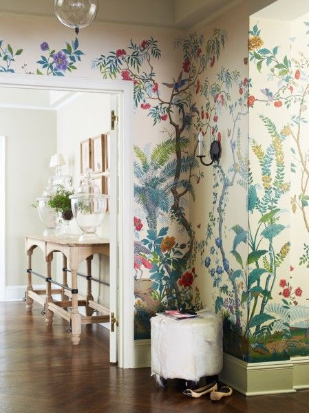 Hand painted gracie botanical wallpaper suzanne mcgrath design