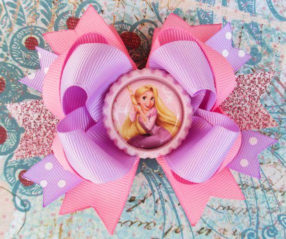 Rapunzel hair bow Disney Princess Hair clip bottle cap Over the top Tangled Summer girls