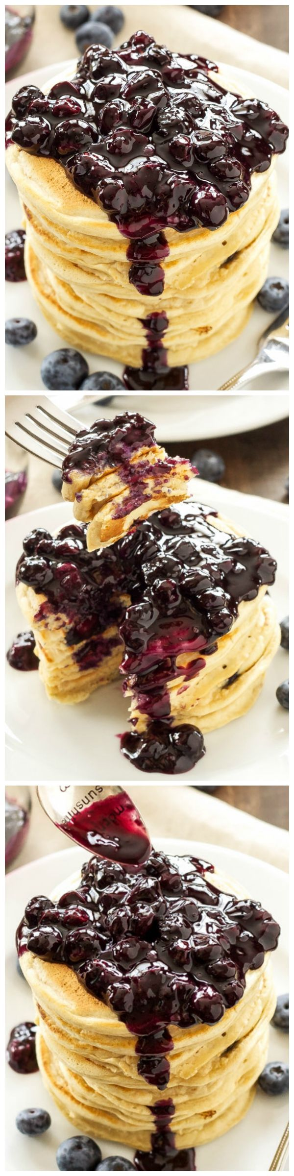 Blueberry Vanilla Protein Pancakes - Delicious whole wheat pancakes with added protein thanks to vanilla protein powder. Top them with a fresh blueberry sauce for a protein packed power breakfast!