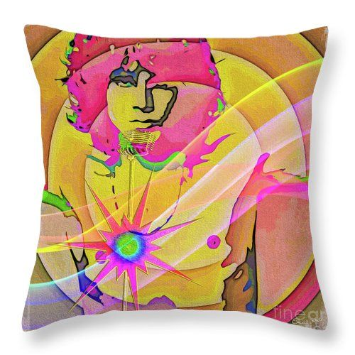 Artist Throw Pillow featuring the digital art Rock Star by Eleni Mac Synodinos