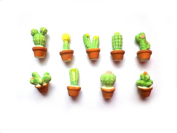 Feves En Porcelaine Cactus 9 Succulentes En Pot Miniatures Decoration Miniature Maison De Poupees Galette Des Rois Vit Make A Gift Hand Painted Doll House
