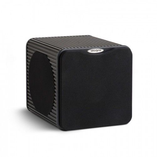 SUBWOOFER VELODYNE MICRO VEE.  It doesn't get any better than this in a compact, eco-friendly subwoofer. Even Einstein would marvel at 3 drivers, a 95%-efficient 2000 Watt amp, the Dynamic Distortion Control System, a 4 pound magnet and a 2″ voice coil all neatly wrapped in a virtually disappearing anodized box. #Subwoofer #Velodyne