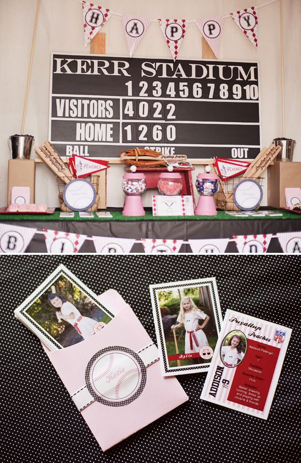 vintage girly-baseball-party - I LOVE this!  Could totally do this for the twins combining the girly details with boyish ones!  Baseball for all!!!