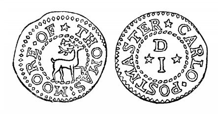 17th Century Token - Malcomson's engraving of Thomas Moore's penny token (Postmaster, Carlow)