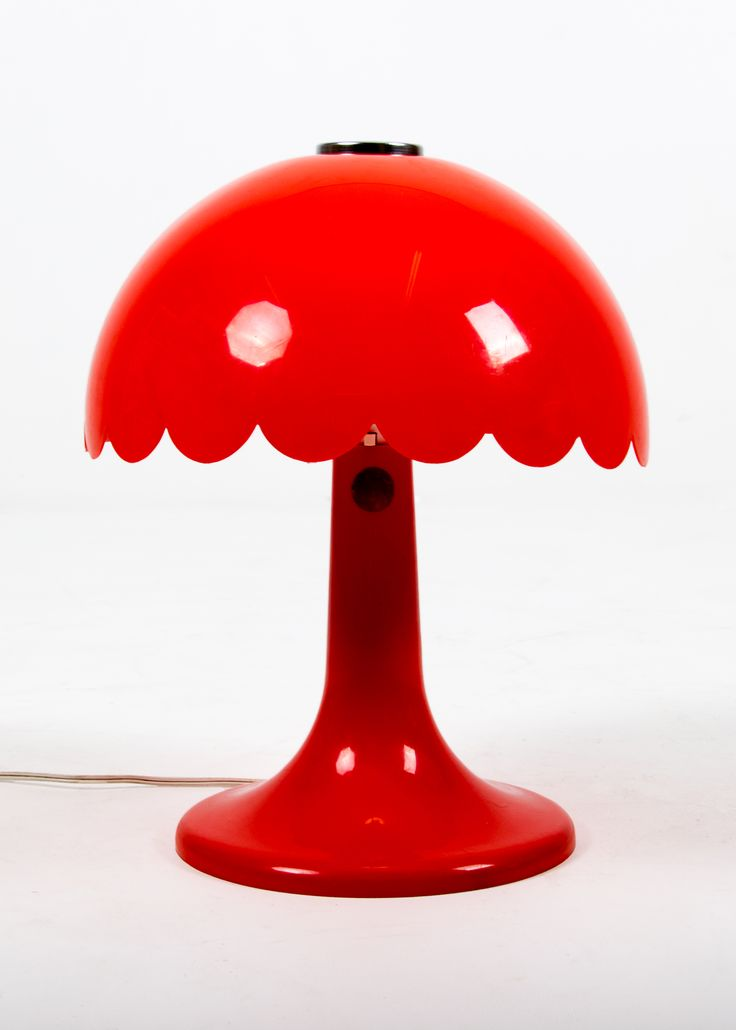 """Nothing says """"Retro"""" like red acrylic. A fun mushroom table lamp with scalloped lip in the style of Artemide Nesso. c1970s"""