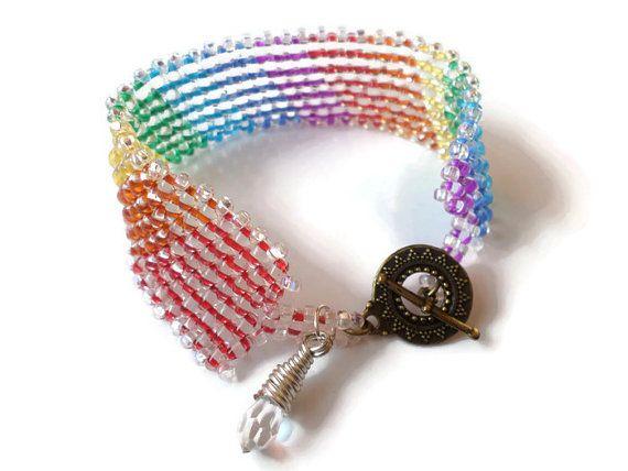 Rainbow Twin bead Bracelet Cuff with Bronze Sun by BranchBeads