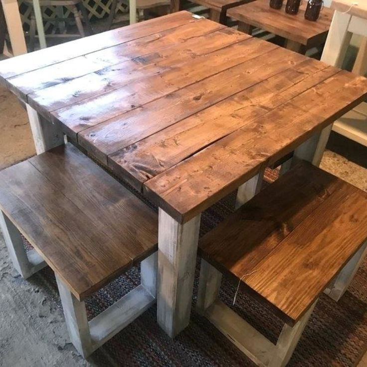 square farmhouse dining table for 4