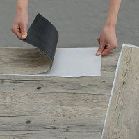 [neu.holz] Vinyl-Laminat (1m²) Selbstklebend Eiche - grau (7 Dekor Dielen = 0,975 qm) Design Bodenbelag / gefühlsecht / strukturiert
