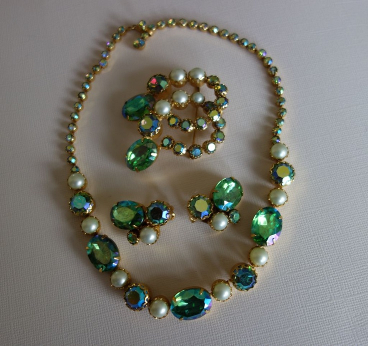 Stunning Schiaparelli Brooch/Earrings Set from oldcurioshop on Ruby Lane