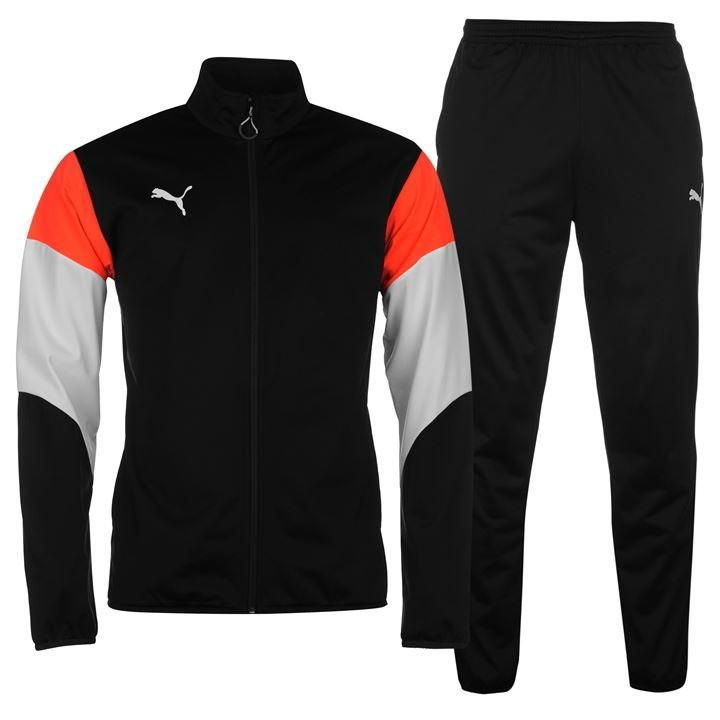 Puma Polyester Tracksuit Mens Black/White/Red http://tidd.ly/7e4cd447
