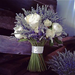 Swirling bouqet of Lavender & White Roses - keep the white roses fresh with small water viles on their tips.