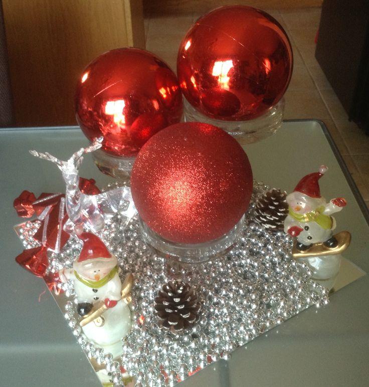 Centro de mesa con bolas de navidad rojas perlas plateadas - Bolas de navidad rojas ...