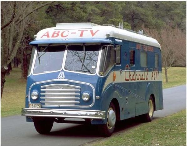 ABC (Australian) outside broadcast van (Melbourne Olympics in 1956).