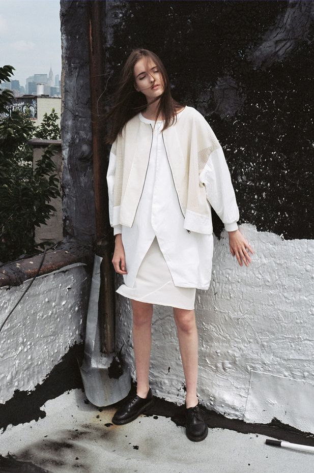 White Bomber jacket with white linen under-layer