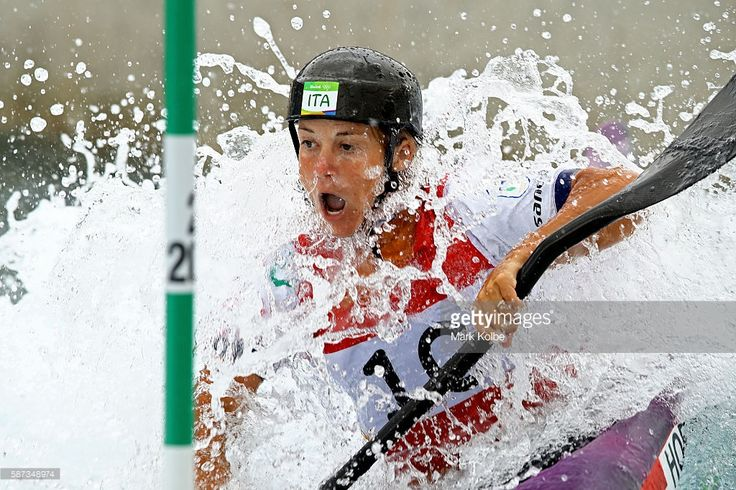 Stefanie Horn of Italy competes during the Men's Canoe Double Slalom (C2) heats…