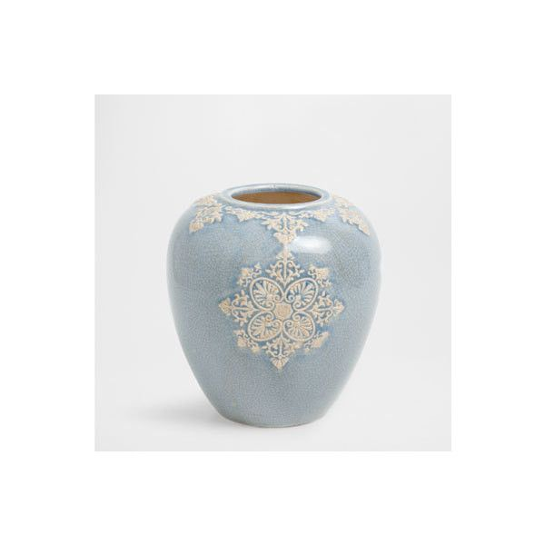 Zara Home Blue terracotta vase (14.110 HUF) via Polyvore featuring home, home decor, vases, zara home, blue home accessories, blue vase, terra cotta vase and blue home decor