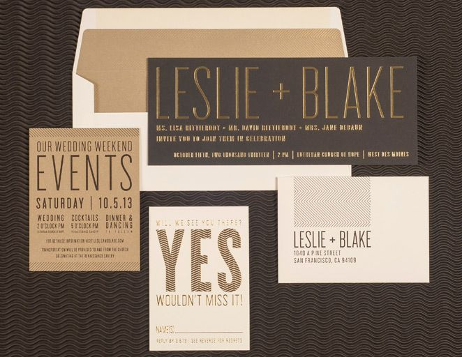 Spark Letterpress black and gold wedding invitation suite