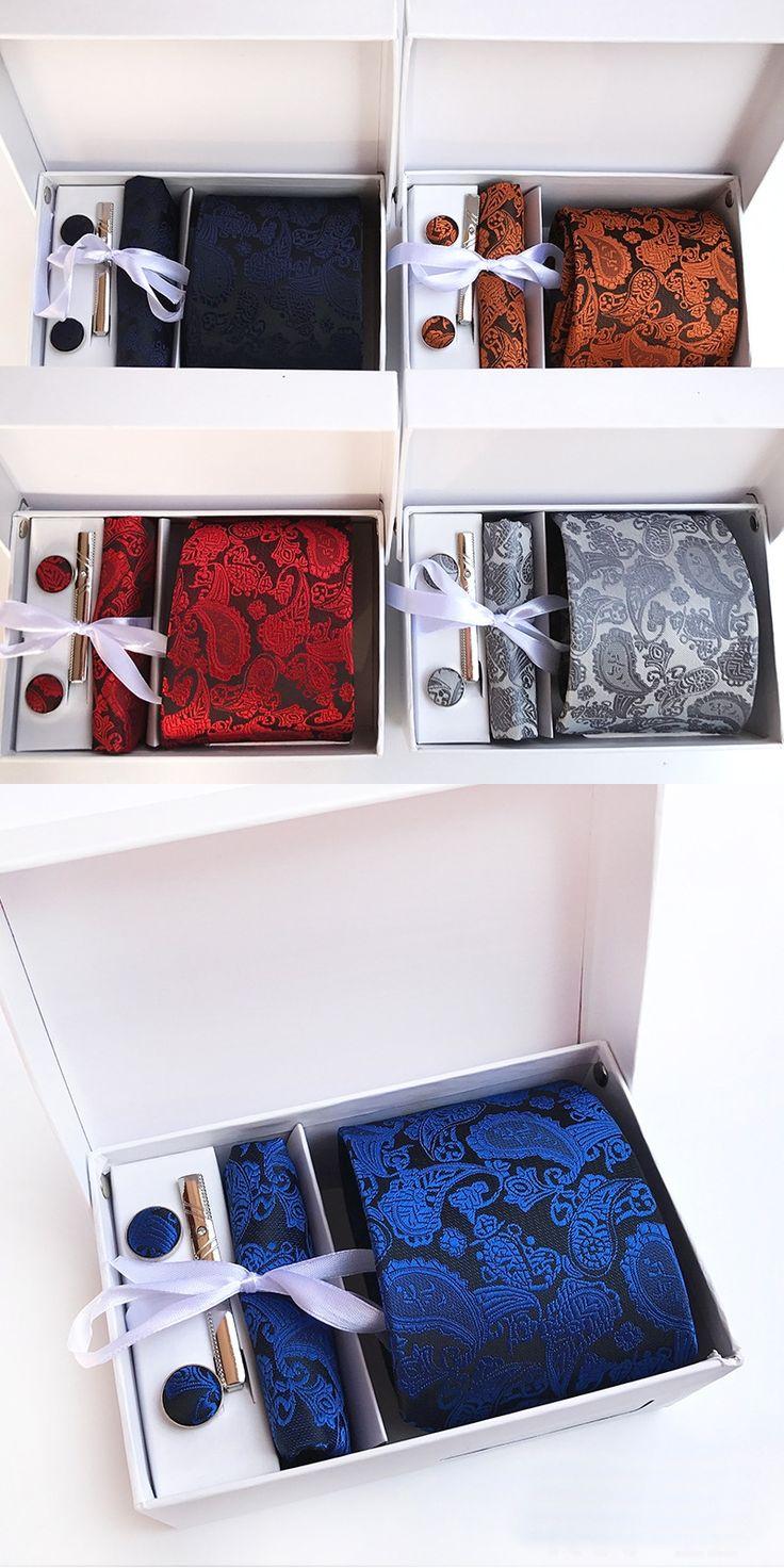 New Brand silk Men Neck Ties Clip Hanky Cufflinks sets Formal Wear Business Wedding Party Floral Tie for Mens cravat KW-12