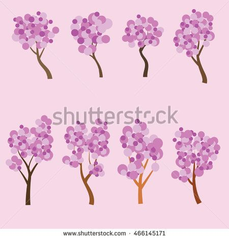 Set 8 flat tree with pink leaf . Vector illustration. Tree icon