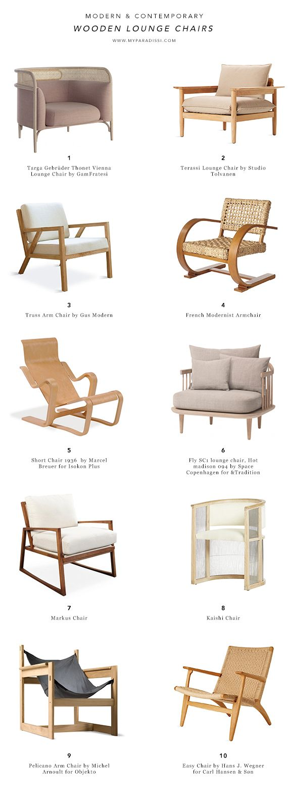 Modern and contemporary wooden lounge chairs