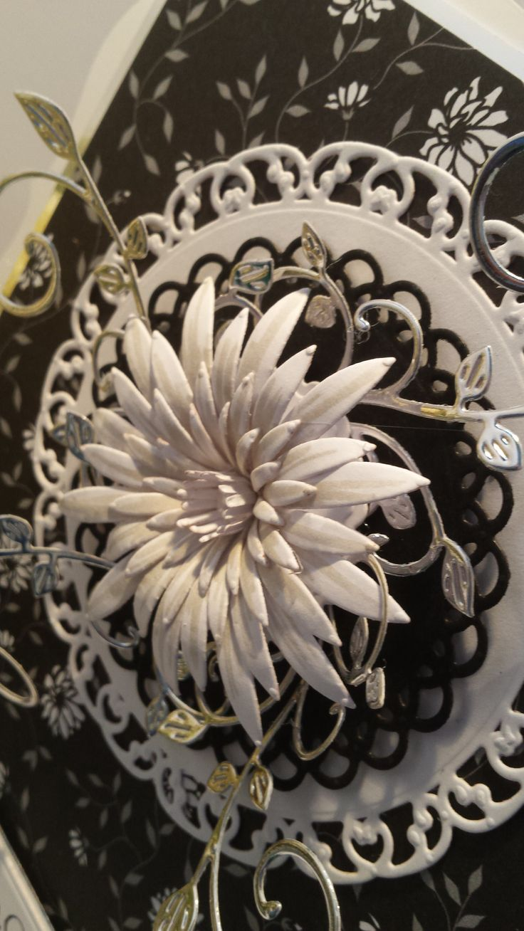Beautiful Black And White Card using Heartfelt Creations Aster Die