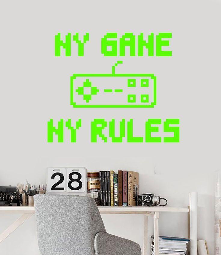 Vinyl Wall Decal Gamer Room Quote Joystick My Game My Rules Stickers (2646ig) –  – #GamerRoom|DIY –  – #GamerRoom|DIY