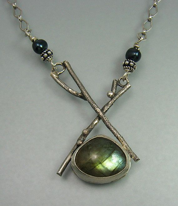 Labradorite branch necklace in sterling silver with freshwater peacock pearls handcrafted by Kryzia Kreations
