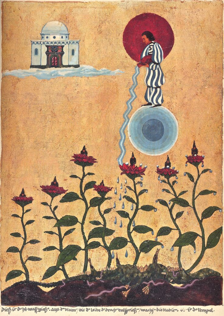 """Painting by Jung from The Red Book: """"Watering Hades"""" with the inscription: """"This the holy caster of water. The Cabiri grow out of the flowers which spring from the body of the dragon. Above the temple."""""""