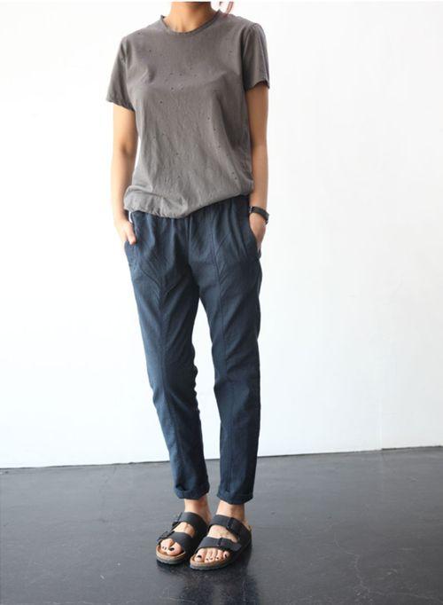 love the blue pants + birki combi