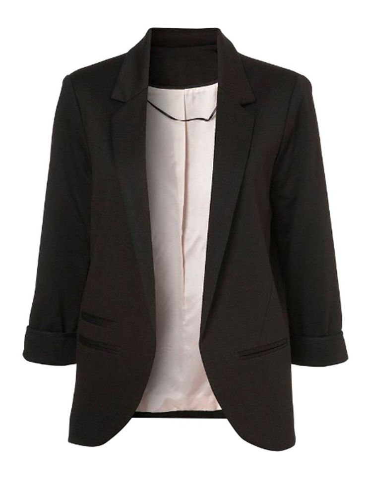 Black Boyfriend Ponte Rolled Sleeves Blazer