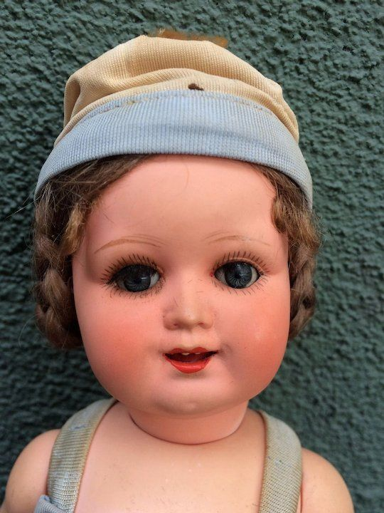 """Antique Celluloid ASK Doll Mint in Box Poland Adam Shrayer 11"""" Character Face"""