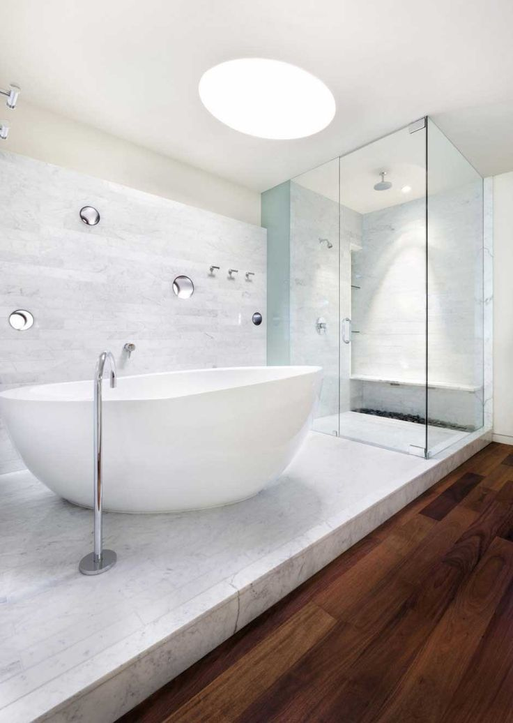 Clean And Spacious Bathroom Design With White Color Modern Elegant Designs Idea Wooden Floor Shower Glass Room