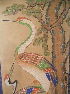 joseon dynasty art | Late Joseon Chosun Dynasty Folk Art Two Cranes | eBay