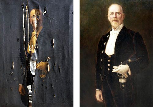 Entire painting, before and after, compared