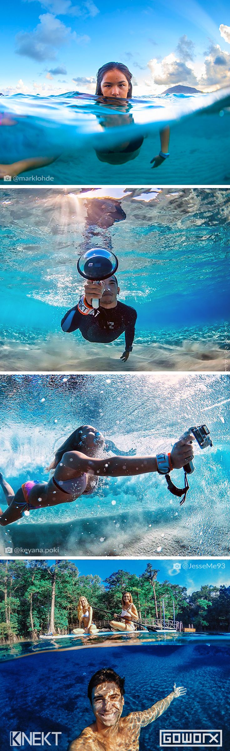 Capture epic over-under photos with the KNEKT GoPro Dome Port & GoPro Triggers - backed by our 100% Gear Guarantee. Repin if you get stoked by those underwater vibes like we do! Your source for GoPro, Drone & Mobile Gear // www.GoWorx.com