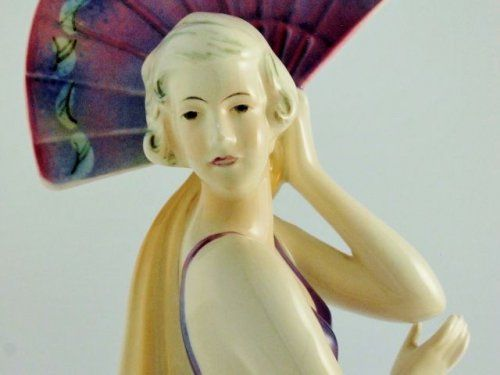 Art Deco ceramic Fan Dancer
