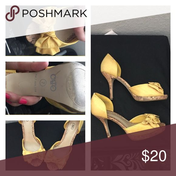 Cato Size 7 Shoes Gorgeous yellow cork heels! Perfect for the summer and despite the heel they are very comfortable!!! Cato Shoes Heels